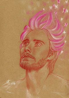 Jared Leto © Théo Adamec #saguine #white_pastel #pink_pastel #portrait #fanart #butterflies