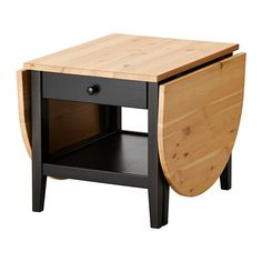 IKEA - ARKELSTORP, Coffee table, , Solid wood is a durable natural material.</t><t>A coffee table with drop leaves is easy to make larger or smaller according to your different needs.</t><t>Pull-out stop ensures that the drawer cannot be pulled out too far accidently.</t><t>Practical storage space underneath the table top.</t><t>Separate shelf for magazines, etc. helps you keep your things organized and the table top clear.