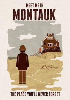 """Montauk"" by Teo Zirinis Eternal Sunshine of the Spotless Mind / Travel Poster Film Posters, Travel Posters, Meet Me In Montauk, Eternal Sunshine, Long Island Ny, Illustrations, The Hamptons, New York, Wall Art"