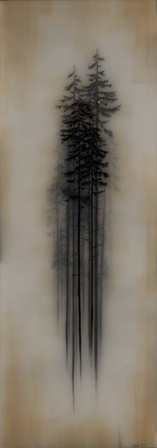 Charcoal evergreens. A lesson using a flatten out brown grocery bag, white tempera paint buffed on and vine charcoal trees. + examples of children's work.: