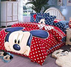 Soft Cartoon Printing Duvet Cover Set Disney Mickey Bed Sheet 100% Cotton 3d Bedding Set Comforter Cover+flat Sheet+pillowcase (Mickey&Red Blue&Spot)