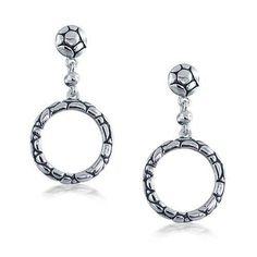Bling Jewelry Silver Plated Modern Cobblestone Dangling Earrings
