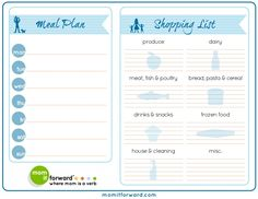 Meal planning - printable