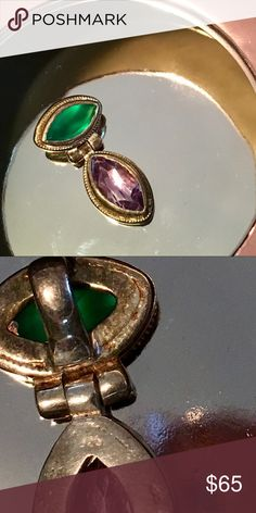 """🍃Green Topaz & Amethyst Pendant - Sterling Silver Brilliant green topaz and sparkling amethyst are hinged together in Sterling silver. The sterling silver imprint is hard to see because this is over 20 years old! It's just below the hinge; I tried to capture it in the photos, but it's a bit rubbed off. 1"""" long. Jewelry Necklaces"""