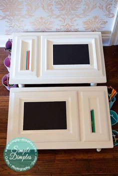 DIY Child Desk using cabinet door/drawer fronts - Would make a good lap tray too.
