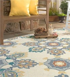 Georgia Outdoor/Indoor Medallion Rug Is Made From All Weather Polypropylene  With A Cut