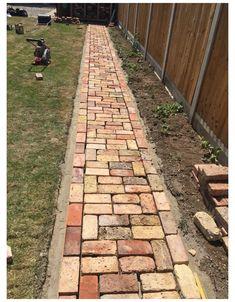 Brick Pathway, Brick Garden, Lawn And Garden, Garden Paths, Garden Beds, Backyard Patio, Backyard Landscaping, Brick Patios, Garden Structures