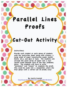 Parallel Lines with Transversals Proofs Cut-Out Activity