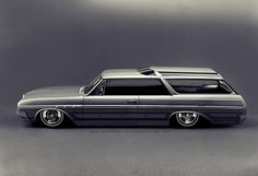 howtobuildatimemachine:  1965 Buick Sport Wagon: 2-door hardtop conversion; Wildcat wheels with double pinner whitewalls; panel paint study