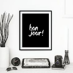 "Paris Decor French Decor ""Bonjour"" Typography Poster Wall Decor Inspirational Print Home Decor Winter Gift New Year Resolution #wallart"