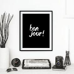Paris décor Français décor « Bonjour » écriture Style noir et blanc typographie Print Wall Decor Home Wall Art automne tendances automne tendances
