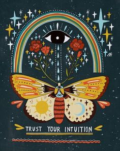 Trust Your Intuition Framed Art Print by Asja Boros - Conservation Walnut - LARGE Wal Art, Posca Art, Hippie Art, Psychedelic Art, Mandala Art, Wall Collage, Art Sketches, Art Drawings, Art Inspo