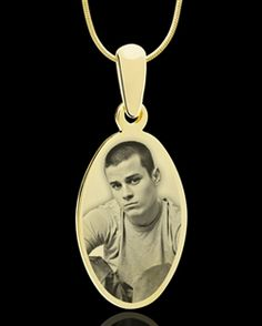 photo engraved oval pendant gold plated jewelry $39.95