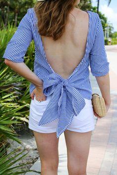 pixie market open back tie striped top