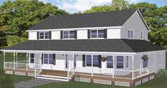 With such features as a wraparound front porch and multiple twin window units, this home evokes the charm of an old-fashioned farmhouse. Free House Plans, Best House Plans, Small House Plans, House Floor Plans, Modern Farmhouse Exterior, Country Farmhouse, Country Homes, 4 Bedroom House Plans, Monster House Plans