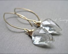 Geometric Dangle Earrings in Crystal Quartz, Gold Filled Gemstone Earrings, Clear Crystal Quartz Wire Wrapped Earrings