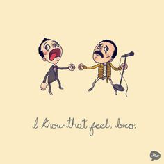 """Pop culture bros connecting with other bros, by artist known as Paper Beats Scissors 