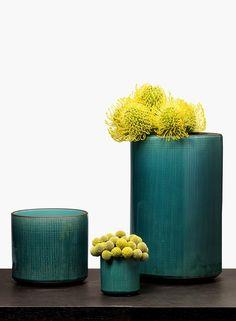 Teal linen look glazed ceramic vases modern floral arrangements florist shop…