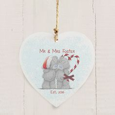 Personalised Me To You Tatty Teddy Wooden Christmas Decoration, Personalise this Me To You Decoration with any name Available From Creative Gifts uk