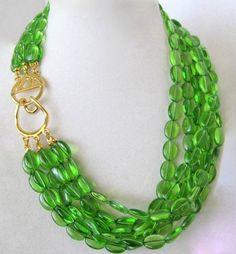 Vintage Kenneth Jay Lane KJL Green Emerald Glass Necklace Choker