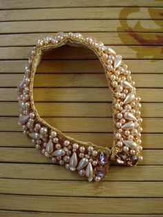 Vintage 1960s Pearl Collar Gold Lame Champagne Pink by bycinbyhand, $30.00