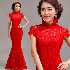 FrançaisRoberouge chinoise de nouvelle longue section de dentelle de mariage en queue de sirène de mariage robe de mariéeRobe1609