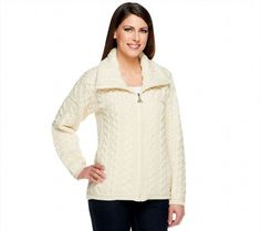 103.93$  Buy now - http://vibkw.justgood.pw/vig/item.php?t=nl9zsc5193 - Aran Craft Merino Wool Semi-Fitted Zipper Front Cardigan Natural M NEW A251981 103.93$
