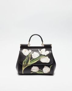 DOLCE & GABBANA Medium Sicily Bag In Printed Dauphine Leather. #dolcegabbana #bags #shoulder bags #hand bags #lining #leather #cotton #