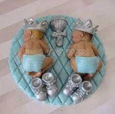 twin baby shower cakes | glitter Twins Boy Prince Baby Shower First Birthday FONDANT BOY Cake ...