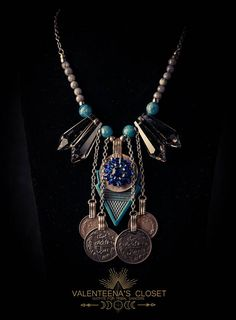 Tribal Necklace with Smoky Crystals and Antique Turquoise