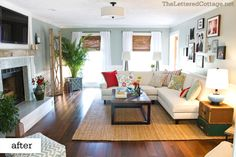 Beautiful living room designed by Layla of The Lettered Cottage - this would be a great family room if there wasn't a white sofa!