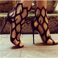 Irresistible Coppy Leather Hollow-Out Stiletto Sandals Stiletto Sandals- ericdress.com 10962566
