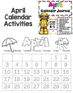 This April Calendar Journal can be used during your daily calendar activity time or at any time you need an extra few minutes. After a week of modeling students should be able to complete on their own. There is a different page for each day of the week. All pages are in black and white to conserve ink! Date Activities, Calendar Activities, Kindergarten Activities, Learning Activities, Calendar Journal, Calendar Time, Daily Calendar, Teacher Created Resources, Teacher Resources