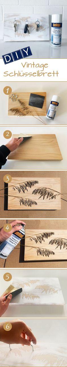 """Auf die Frage """"Was eignet sich als Lackierschablone?"""" gibt es eigentlich nur eine Antwort: Vieles! Ein weiteres Beispiel sind Naturschablonen: Blätter, Gräser und Blüten lassen sich hervorragend als Schablone verwenden, um lackierte Flächen durch individuelle Muster noch weiter aufzuwerten. Spray Paint Projects, Diy Spray Paint, Bamboo Cutting Board, Vintage, Home And Garden, Stencils, Projects, Patterns, Vintage Comics"""