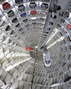 Car Silos at the Autostadt in Wolfsburg, Germany.