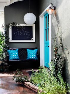 Love this idea for the front door. The colors pop
