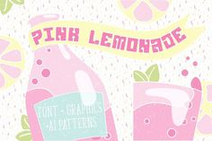 Pink Lemonade - retro display font by Watercolor Nomads on @creativemarket