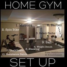 Home Gym Set Up....pretty much everything we have in our home gym, just not as…