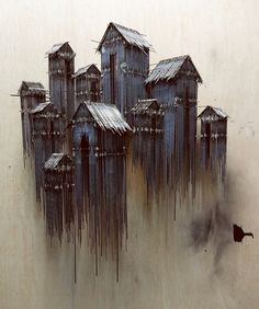 David Moreno - Floating Favela (steel) 80 x 62 x 26 cm. Architectural Sculpture, Architectural Sketches, Installation Art, Wood Art, New Art, Concept Art, Art Projects, Street Art, Illustration Art