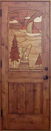 Knotty Alder, Interior Door with Intarsia design of boy fishing off the dock.  Intarsia design incorporates 7 different types of wood.