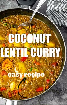Creamy Jamaican coconut lentil curry, made with green lentils cooked in an aromatic coconut curry sauce. This makes the perfect one pot dish. Tasty Vegetarian Recipes, Lentil Recipes, Curry Recipes, Lunch Recipes, Healthy Recipes, Vegetarian Soup, Healthy Meals, Soup Recipes, Lentil Dishes