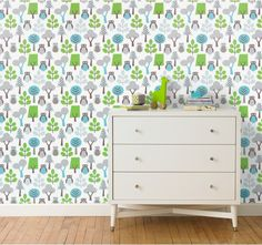 """New """"Owls"""" duvet set by Dwell Studio is a fresh take on the classic owl motif from the Her Wallpaper, Nursery Wallpaper, Wallpaper Decor, Wallpaper Ideas, Monkey Room, Owl Nursery, Nursery Ideas, Botanical Wallpaper, Room Decor"""