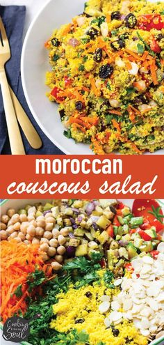 Make this easy and flavor-packed Moroccan Couscous Salad tonight! Made with tender couscous, roasted vegetables, fresh vegetables, raisins, and more! Moroccan Couscous Salad, Mediterranean Couscous, Mediterranean Recipes, Healthy Eating Recipes, Cooking Recipes, Healthy Food, Couscous Salad Recipes, Roasted Vegetables, Veggies