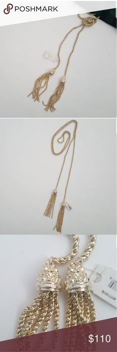 """Kendra Scott 'Jake' Gold Lariat Necklace Super chic and versatile bright 14k gold plated braided chain necklace with tassel.   Length 42"""" 4"""" tassel pendant 1/4"""" width The lariat style allows you to customize the length and tie or knot it however you desire! This will be sent without the original dust bag. Offers are welcome - no trades please. Kendra Scott Jewelry Necklaces"""