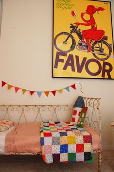 There is something about a simple colorful patchwork quilt. I really need to make one.