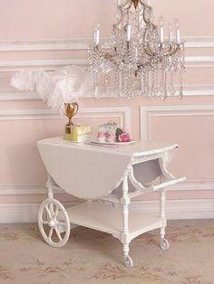 Vintage White Large Oval Teacart