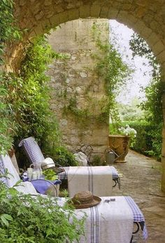 The simple life of sharing a baguette or a toast of fine wine in a lovely spot such as this... Provence France.