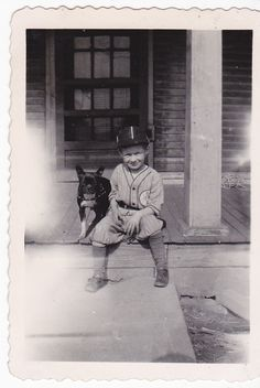 1930's - Boy in baseball uniform with Boston Terrier (mix?)