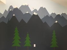 Mountain mural for a kids room. I used 'folk blue' for the center mountains and then added black for the closer mountains and white for the distant ones. Can u find the yeti?