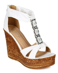 Refresh CC04 Women Leatherette Open Toe T-Strap Rhinestone Plated Platform Wedge Sandal - White ** Read more  at the image link.